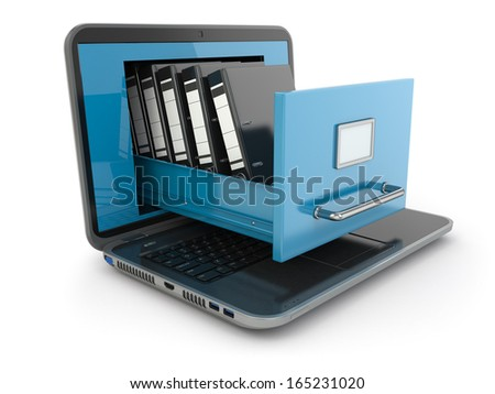 Data storage. Laptop and file cabinet with ring binders. 3d - stock photo