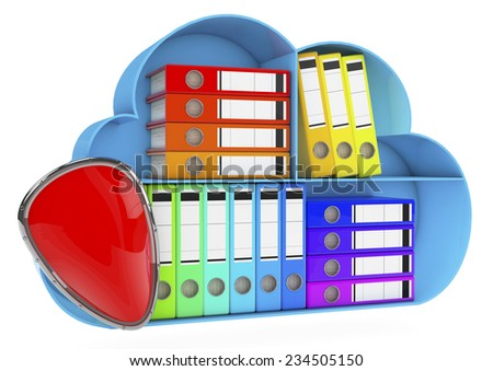 data storage on servers in cloud. 3D image isolated on white. data security concept - stock photo