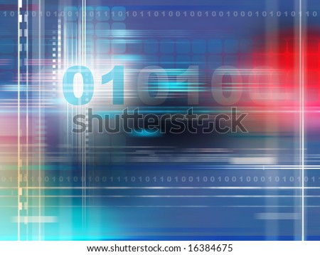 Data streams on high technology background. Digital illustration - stock photo