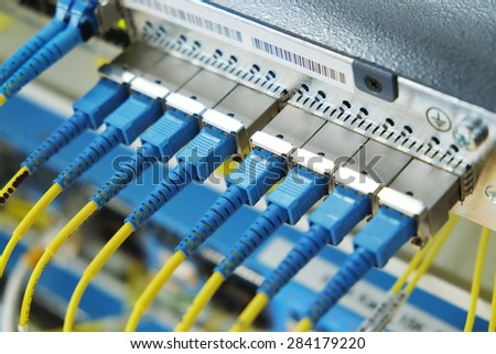 Data transfer by optical fiber information technology. - stock photo