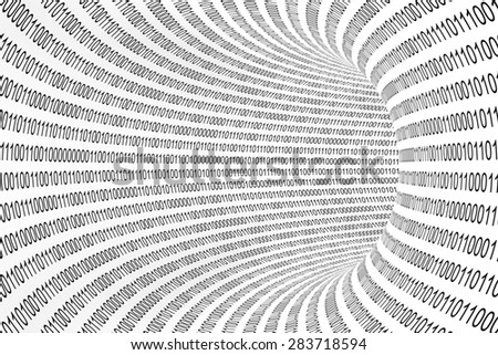 Data Transfer Concept - Black and White Binary Code Tunnel Abstract Background - stock photo