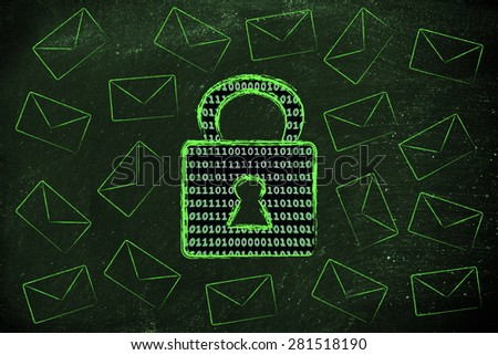 data transfer security and encryption: lock with binary code texture surrounded by flying mails - stock photo