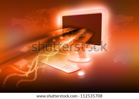 Data transferring concept in abstract background - stock photo