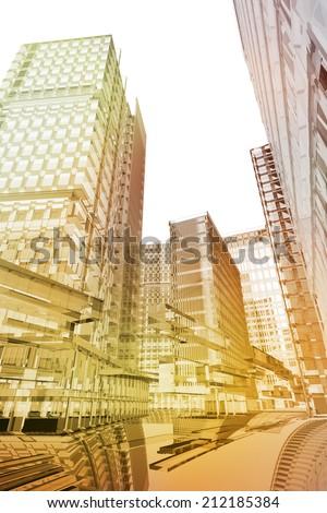 Data transport in future city - stock photo