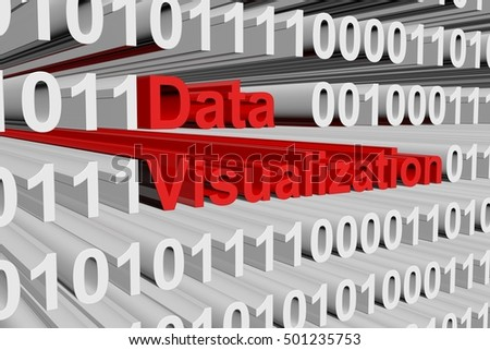 Data visualization in the form of binary code, 3D illustration