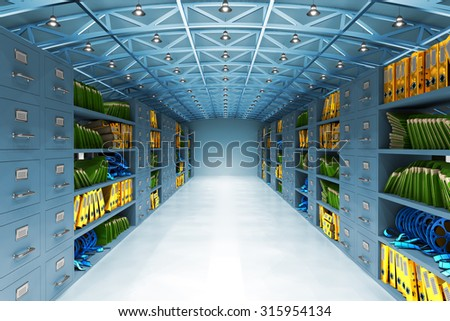 Data warehouse and information storage concept, archive office room interior with files and folders, film reels and cabinets with drawers in blue light - stock photo