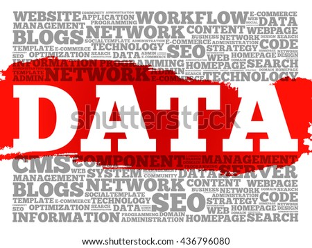 DATA word cloud, technology concept - stock photo