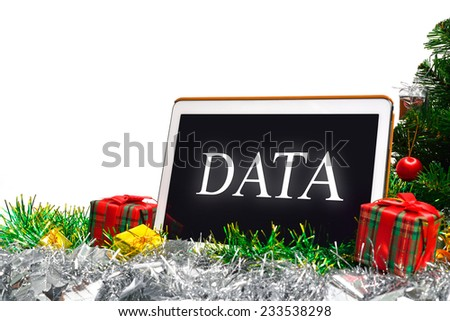 Data word on tablet pc - stock photo
