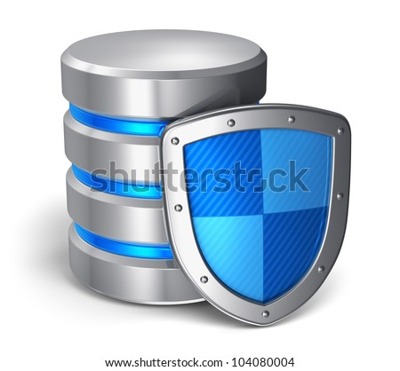 Database and computer data security concept: metal hard disk icon covered by protection shield isolated on white background - stock photo