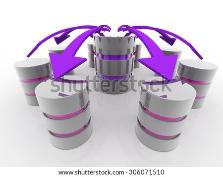 Database and networking concept: connected metal hard disk - stock photo