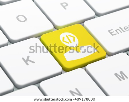 Database concept: computer keyboard with Programmer icon on enter button background, selected focus, 3D rendering