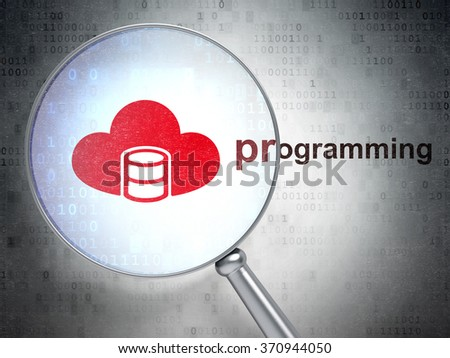 Database concept: Database With Cloud and Programming with optical glass - stock photo
