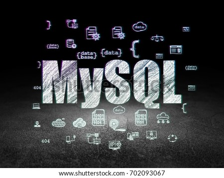 Database Concept: Glowing Text MySQL, Hand Drawn Programming Icons In  Grunge Dark Room With