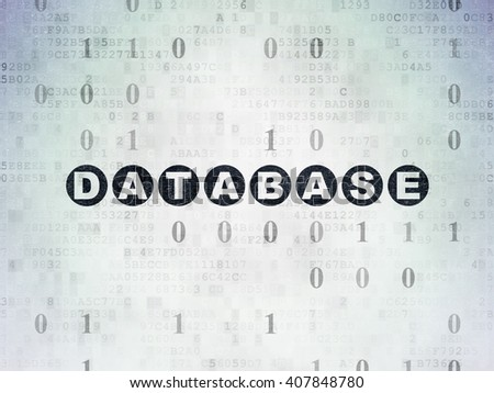 Database concept: Painted black text Database on Digital Paper background with Binary Code - stock photo