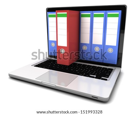 Database concept - ring binders in mobile computer, 3d render - stock photo