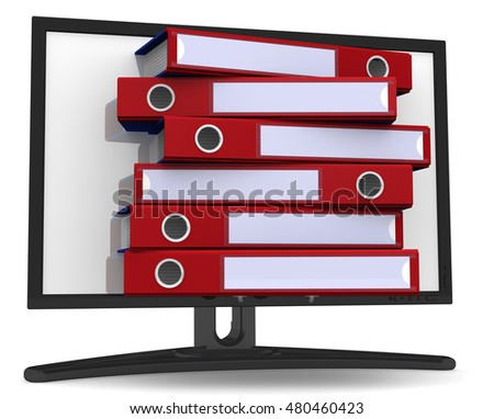 Database. Concept. Ring binders in the monitor. Isolated. 3D Illustration