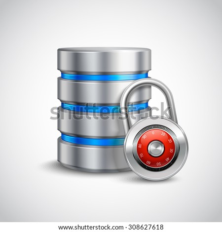 Database 3d with closed padlock isolated on white background safe storage concept  illustration - stock photo