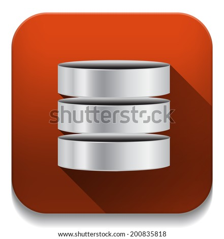 Database Icon With long shadow over app button