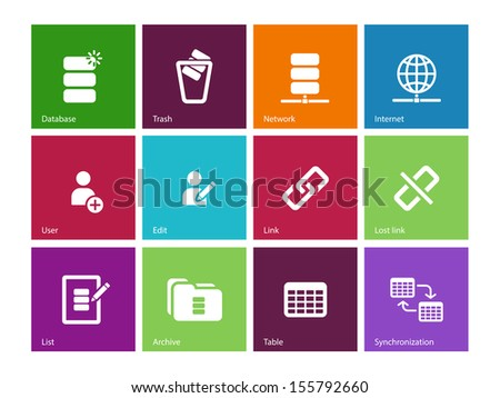 Database icons on color background. See also vector version. - stock photo