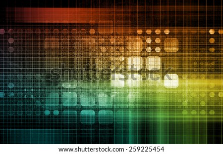 Database Network Service Management Solutions as Art - stock photo