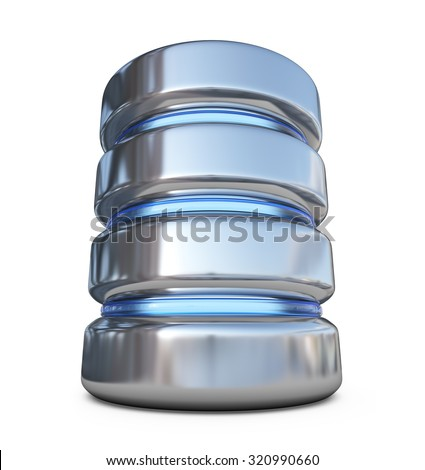Database. Storage concept. 3D icon isolated on white background - stock photo