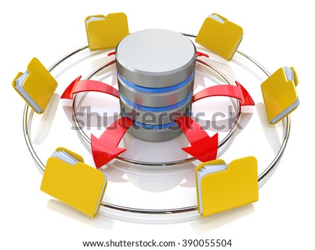 Database symbol connected to computer folder icons (3d render) in the design of information related to internet - stock photo