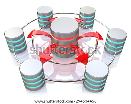 Database symbol connected to metal hard disk icons (3d render)  - stock photo