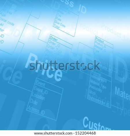 Database Table concept in color - stock photo