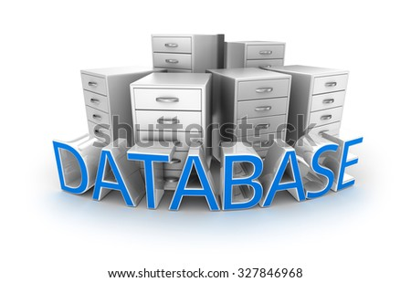 Database text and office containers, 3d Concept - stock photo