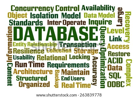Database wordcloud on white background - stock photo