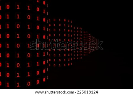Database, zero's and ones. red numbers. - stock photo