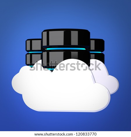 Databases and cloud computing concept - stock photo