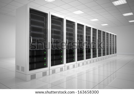 Datacenter with one row of computers in white room