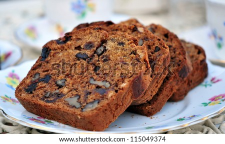 date and walnut loaf - stock photo
