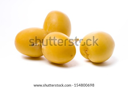 Date fruits isolated on white background. - stock photo