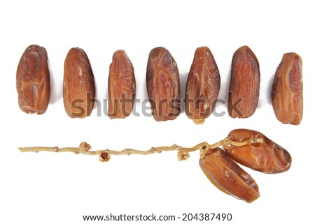 Date fruits with white background - stock photo