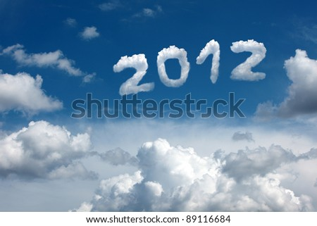 Date 2012 in the blue sky with beautiful clouds. - stock photo