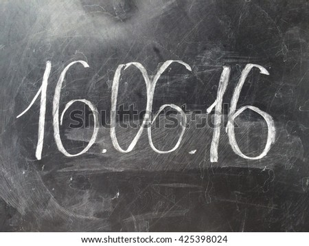 Date 16 June in the chalk board