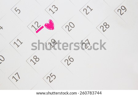 Date of calendar with Heart of the anniversary. - stock photo