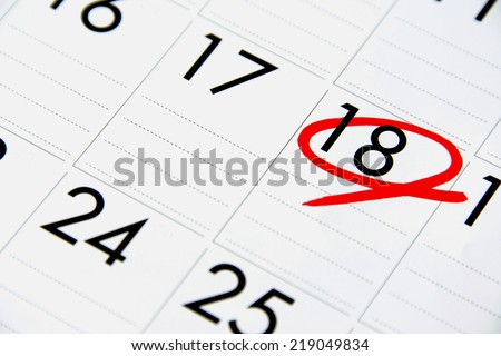Date of calendar with red circle - stock photo