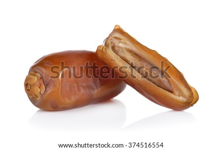 date palm fruit on white background