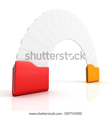 Date transfering exchange concept with red and yellow office folders - stock photo