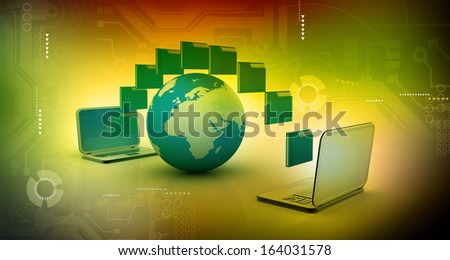Date transferring concept on abstract tech background