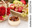 dates, nuts, fruits - stock photo