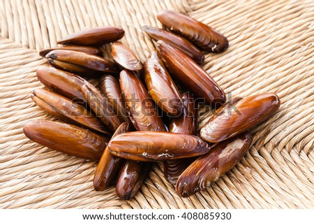 dates Sea on braided hemp - stock photo
