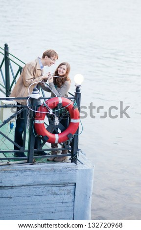 Dating couple having fun together - stock photo
