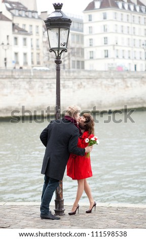 Dating couple in Paris - stock photo