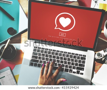Dating Flirting Chatting Talking Passion Concept - stock photo