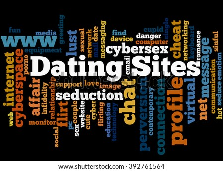 Dating Sites, word cloud concept on black background.