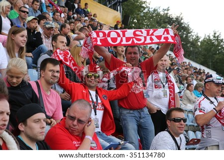 DAUGAVPILS, LATVIA - AUGUST, 17:  Latvian FIM Speedway grand prix. Emotional fans from Poland on tribune